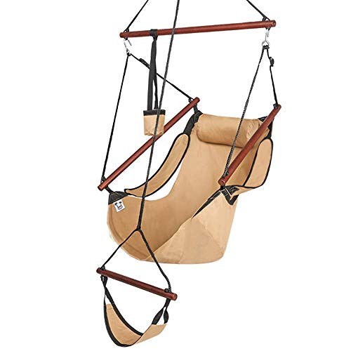 OnCloud Upgraded Unique Hammock Hanging Sky Chair, Air Deluxe Swing Seat with Rope Through The Bars Safer Relax with Fuller Pillow and Drink Holder Solid Wood Indoor/Outdoor Patio Yard 250LBS, Tan