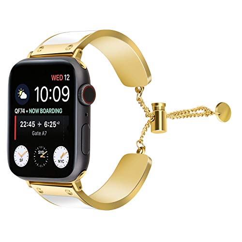 JimBird Women Bracelet Compatible Band for Apple Watch 38mm/40mm, Ladies Girls Stainless Steel Metal Strap Stainless Steel Wristband Bangle Chain Compatible Series 4 3 2 ()