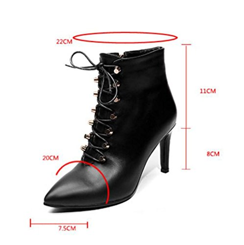 90160CM boots high heeled women's boots straps and NSXZ rivet Leather winter cross pointed BLACK autumn ankle ASqwqxOZR