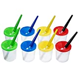 8 Pieces Spill-Proof Paint Cups with Colored Lids and 8 Pieces Assorted Colored Painting Brushes Set