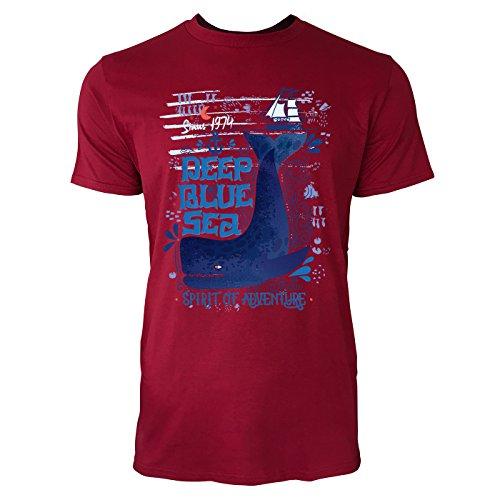 SINUS ART ® Pottwal – Deep Blue Sea Herren T-Shirts in Independence Rot Fun Shirt mit tollen Aufdruck