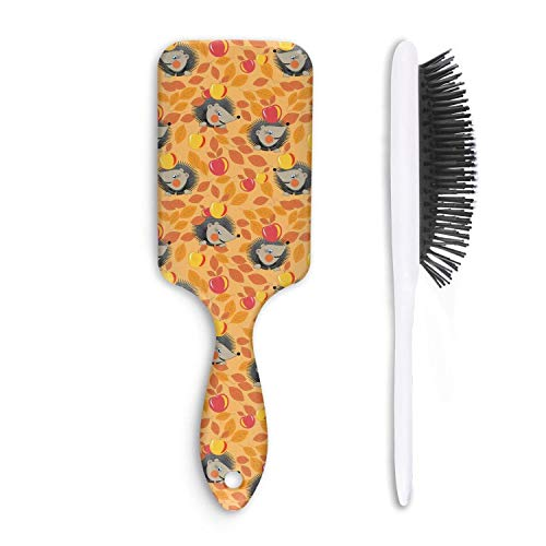 Wet And Dry yellow mini happy hedgehogs and apples Beauty Professional Boar Bristle Paddle Hairbrush For Women And Men Grooming Styling & ()
