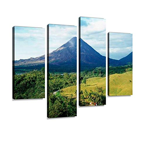 (Outdoor Photo with Arenal Volcano in Costa Rica Canvas Wall Art Hanging Paintings Modern Artwork Abstract Picture Prints Home Decoration Gift Unique Designed Framed 4 Panel)
