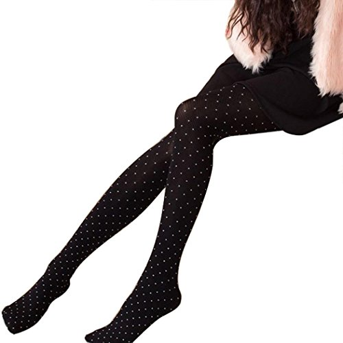 pring and Autumn Skinny Polka Dots Leggings Stretch Pants Tights (Black) (Cotton Polka Dots Tights)