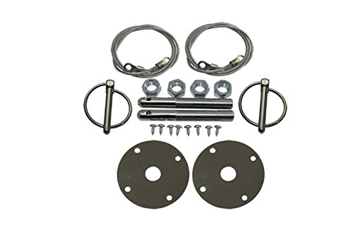 Mota Performance A30133 Chrome Hood Pin Kit Flip Over Style with Lanyards featuring 1/2'' Studs and 3/16'' Retainers