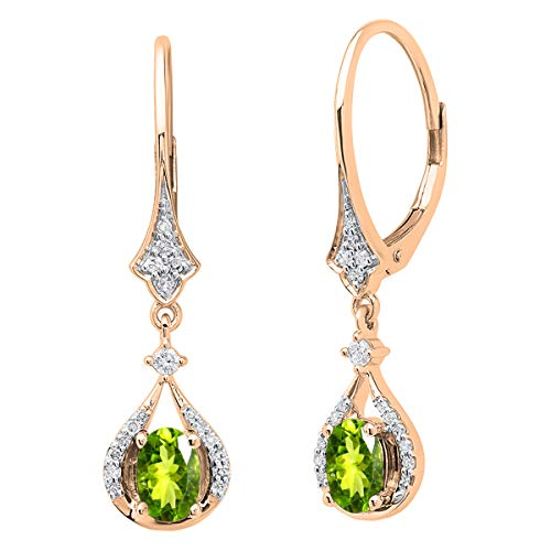 Dazzlingrock Collection 14K 6X4 MM Each Oval Peridot & White Diamond Ladies Dangling Drop Earrings, Rose Gold