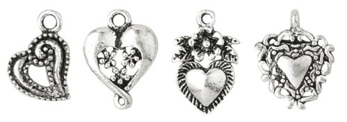 Blue Moon Plated Metal Dangle Charms, Silver Medium Heart Assortment, - Plated Charm Metal