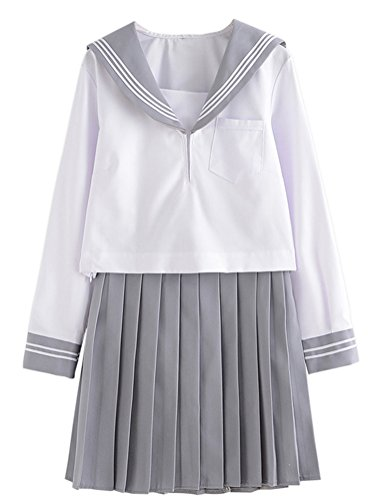 Hell Girl Cosplay Costume (Japanese School Uniform Cosplay, Women Girls Halloween Anime Sailor Costume JK White Grey (S--US 4-6, Long Sleeves))