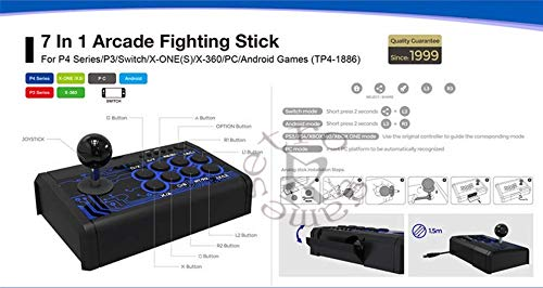 TMG 7in1 Retro Arcade Fighting Analog Stick Game Controller Joystick Rocker DOBE TP4-1886 for SWITCH/PS4/PS3/XBOX ONE/XBOX ONE S/360/PC/Android