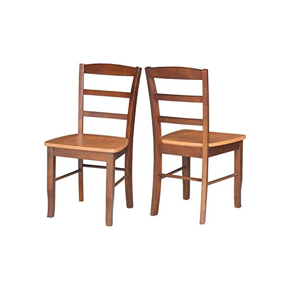 International Concepts Pair of Madrid LadderBack Chairs, Cinnamon/Espresso - Easy to assemble Made from solid parawood - kitchen-dining-room-furniture, kitchen-dining-room, kitchen-dining-room-chairs - 41usNWFitpL. SS570  -