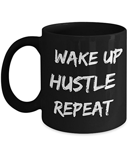 Wake up. Hustle. Repeat. - Motivational Gift Idea - Unique Black Coffee Mug - AIE Inspirations