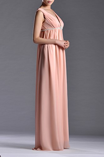 Homecoming Dusty Dress Formal Bridesmaid Straps A Rose neck Chiffon line V Empire Long Pleated 8PfzxqS7wx