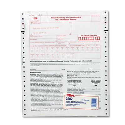 Tops 1096 IRS Approved Tax Forms, 8 x 11, 2-Part Carbon, ...