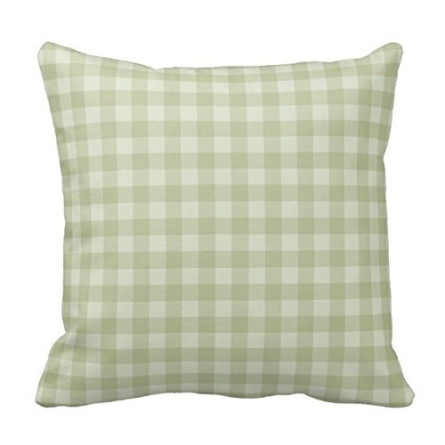Poppy-Baby Light Green and Gray Plaid Gingham Chess Pattern Square Throw Pillow Cover Case Decorative for Sofa 18 x 18 Inch Two Sides
