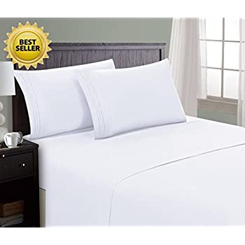 HC Collection Bed Sheet & Pillowcase Set HOTEL LUXURY 1800 Series Egyptian Quality Bedding Collection! Deep Pocket, Wrinkle & Fade Resistant,Luxurious,Comfortable,Extremely Durable(Full, White)