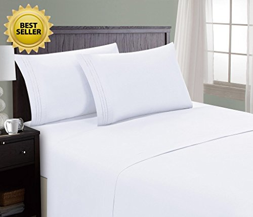 HC Collection Bed Sheet & Pillowcase Set HOTEL LUXURY 1800 Series Egyptian Quality Bedding Collection! Deep Pocket, Wrinkle & Fade Resistant,Luxurious,Comfortable,Extremely Durable(Cal King, White) - Alternatives California King Sheet Set