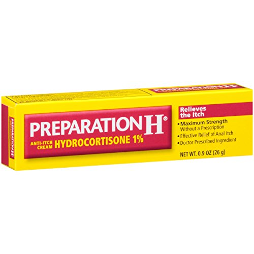 Preparation H Anti-Itch Cream With Hydrocortisone 1% (0.9 Ounce Tube, Pack of 3)