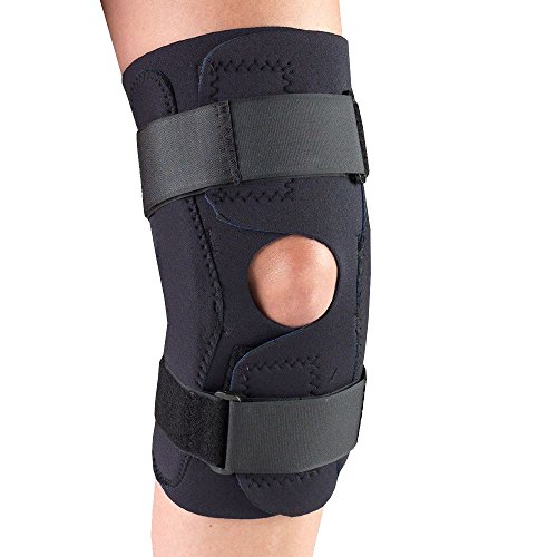 OTC Knee Stabilizer Wrap, Hinged Bars, Neoprene, Black, - Neoprene Bar