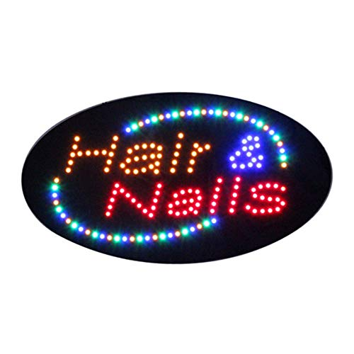 LED Hair Nails Open Light Sign Super Bright Electric Advertising Message Display Board for Business Shop Store Window (Yellow, 27 x 15 inches) ()