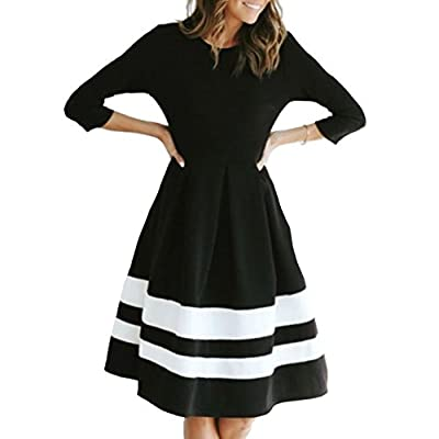 Ngdcseo Women's Casual 3/4 Sleeve Pleated Patchwork Black and White A Line Dress