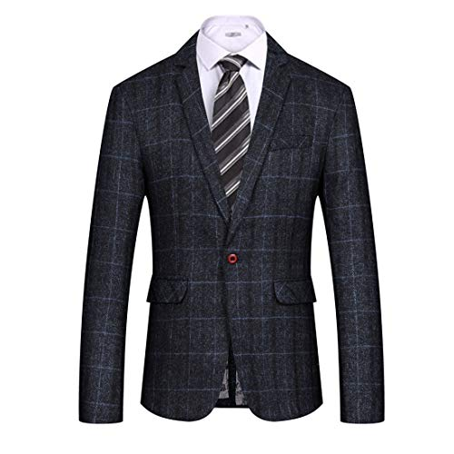 (MAGE MALE Men's Casual Blazer Slim Fit Plaid One Button Business Suit Jacket Sport Coat)