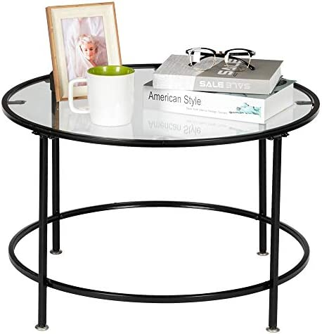 26in Round Tempered Glass Coffee Table w Black Finish Trim for Home, Living Room, Dining Room
