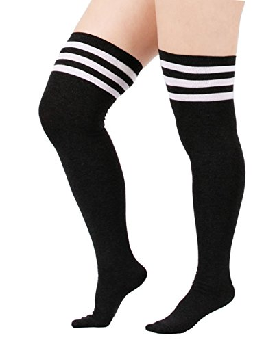 Cheap White Knee High Boots (Century Star Women Cute Striped Over The Knee Tube Dress Plus Size Long Cotton Stretchy Thigh Stockings Socks A Black And White)