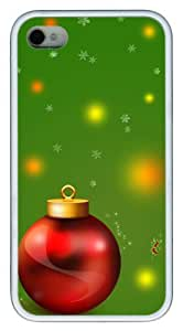 cassette iphone 4 cases Christmas decoration balls and green TPU White for Apple iPhone 4/4S by ruishername