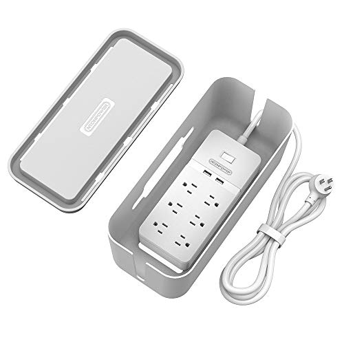 (Surge Protector Power Strip with Cable Management Box, 6 Outlets and 2 USB Ports with Switch Control, Flat Plug, 5ft Heavy-Duty Extension Cord, Cord Organizer Box for Home and Office - White )