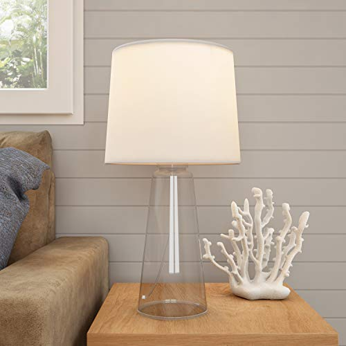 Lavish Home Clear Glass Lamp-Open Base Table Light with LED Bulb and Shade-Modern Decorative Lighting for Coastal, Nautical, Rustic Cottage Styles