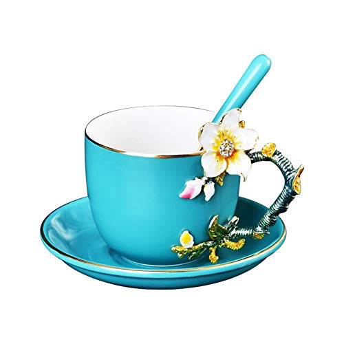 Tea Cup Coffee Mug Cups,13 Oz Ceramic Coffee cups and saucers Sets With Spoon, Unique Personalized Birthday Gift Ideas for Women Mom Grandma Teachers Hot Beverages (Blue) -