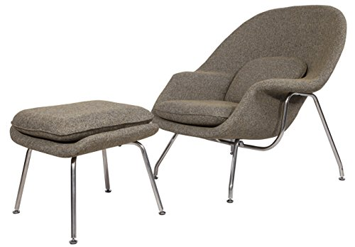 Emorden Furniture Womb Chair & Ottoman. Premium Cashmere & High Density Foam Cover on Fiberglass. High Polished Stainless Steel. All Hand Sewn. (Oatmeal)