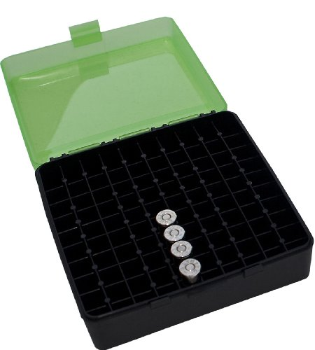 MTM 100 Round Flip-Top Ammo Box 380/9MM Cal (Clear Green/Black)