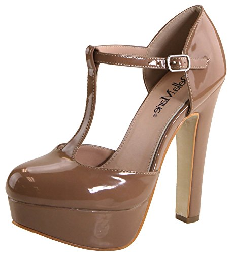 Bella Marie Women's T-Strap Closed Toe Platform High Heel Pump (9 B(M) US, Nude)