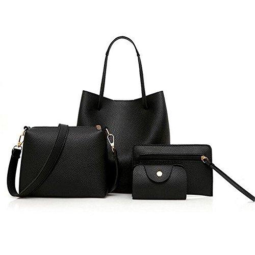 Women Fashion PU Leather Handbag+Shoulder Bag+Purse+Card Holder 4pcs Set Large Tote Satchel