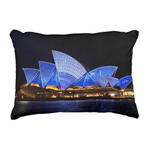 Pieow Gid Australia Sydney Opera House at Night Skin Decorative Autumn Square Cushion Case for Sofa Bedroom Couch Car (Best Diy Hair Dye Australia)