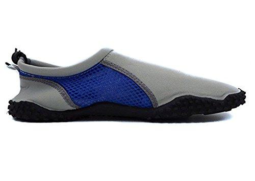 Chaussures Aqua Choqué Mens Avec Cordon Et Bascule Gris / Cobalt