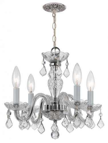 Crystorama 1064-CH-CL-MWP Crystal Four Light Mini Chandeliers from Traditional Crystal collection in Chrome, Pol. Nckl.finish,