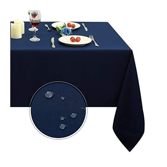 Obstal Rectangle Table Cloth, Oil-Proof Spill-Proof and Water Resistance Microfiber Tablecloth, Decorative Fabric Table Cover for Outdoor and Indoor Use (Navy Blue, 60 x 84 Inch) -  Premium Quality Tablecloth:This durable and easy to clean tablecloth is made from 100-percent premium polyester fabric. Available in 3 sizes: 60 x 84 inch, 60 x 102 inch, 60 x 120 inch, please measure your table size before buying.   Water Resistance Tablecloth: Our holiday table cloth is oil-proof, stain proof, scratch and water resistant. No leaks, making it the perfect table cover protector for your table.  Fulfill Your Finicky Fashion Sense: The impressively durable fabric promises to be a long lasting and stylish complement to your home. Whether you are looking for a stunning piece to tie your existing interior décor together or simply in need of an easy care focal point for an upcoming party or event, our solid color table clothes can create your personal style - tablecloths, kitchen-dining-room-table-linens, kitchen-dining-room - 41usSlWB4OL. SS570  -