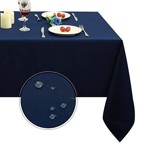 Obstal Rectangle Table Cloth, Oil-Proof Spill-Proof and Water Resistance Microfiber Tablecloth, Decorative Fabric Table Cover for Outdoor and Indoor Use (Navy Blue, 60 x 84 Inch) -