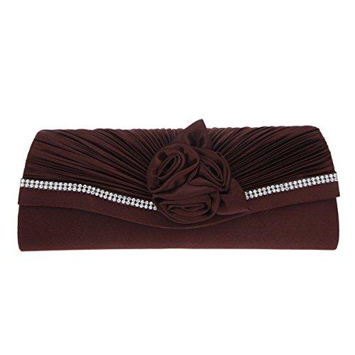 Fawziya Satin rose baguette handbag ladies evening party clutch bag-Brown