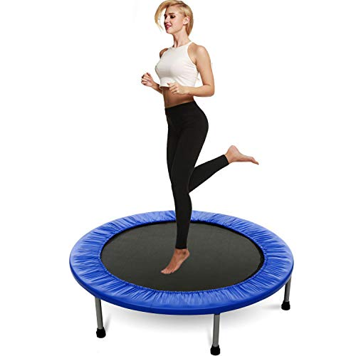 Balanu 40 Inch Mini Exercise Trampoline for Adults or Kids - Indoor Fitness Rebounder Trampoline with Safety Pad | Max. Load 220LBS (Blue-40In-Not Folding)