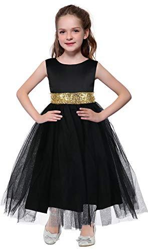 Girls Pageant Dresses Flower Girl Wedding Dress First Communion Ball Gown for Kids Size 5-6 Black