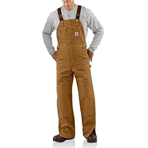 Carhartt Men's Quilt Lined Duck Bib Overalls R02,Brown,42 x 32