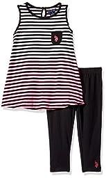 U.S. Polo Assn. Little Girls\' Dip Dye Striped Pocket Tank and Capri Legging, Black, 6X