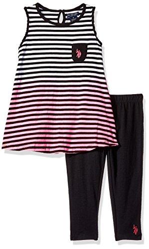 U.S. Polo Assn. Girls Dip Dye Striped Pocket Tank and Capri Legging