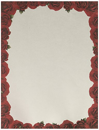 (Stationery - Red Roses - 8.5 x 11 inches - 100 pieces)