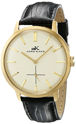 Adee Kaye Men's AK2225-MG Classique Gold-Tone Stainless Steel Watch with Faux-Leather Band