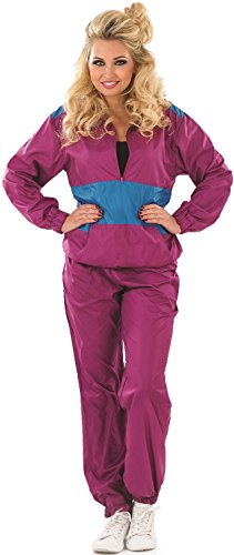 Ladies 1980s 80s Shell Suit Hen Do Night Theme Party Halloween Carnival Fancy Dress Costume Outfit UK 8-22 Plus Size (UK 12-14) -