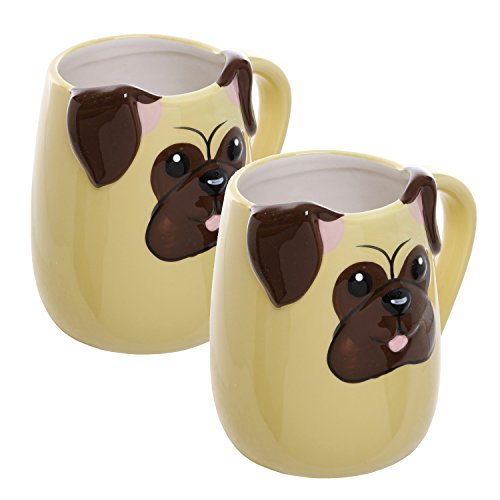 3D Pug Face Yellow Ceramic Coffee Mugs / Novelty Dog Lover Tea Cups / Hot Beverage Drinkware - Set of 2